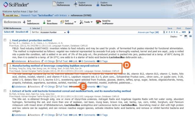 รูปที่ ๔ : หน้าจอแสดงผลการค้นของ SciFinder