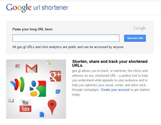 รูปที่ ๑ : หน้าเว็บ google url shortener