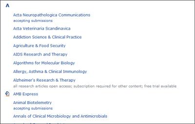 รายชื่อวารสารของ BMC อันที่มี logo เล็กๆ ด้านหน้า คือวารสารของ SpringerOpen