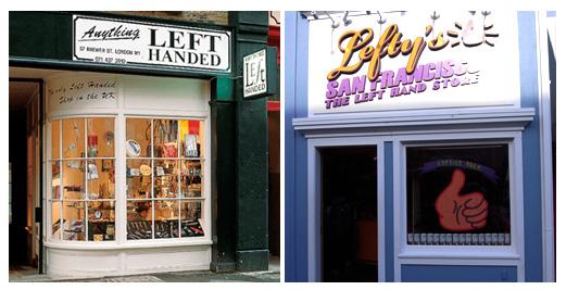 สองร้านขายสินค้าสำหรับคนมือซ้ายชื่อดังAnything Left Handed แห่งกรุงลอนดอน และ Lefty's San Francisco แห่ง ซาน ฟรานซิสโก