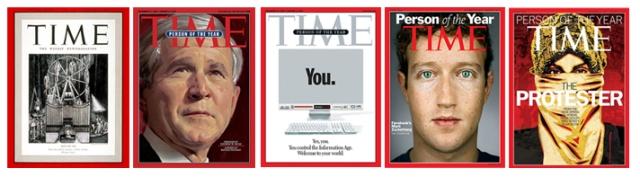 บุคคลแห่งปีของ TIME ซึ่งมีทั้งที่เป็นที่ยอมรับและเป็นที่ชวนฉงน เช่น อดอล์ฟ ฮิตเลอร์ (1939) จอร์จ ดับเบิลยู บุช (2004) ผู้ใช้อินเทอร์เน็ต (2006) มาร์ค ซัคเคอร์เบิร์ก (2010) กลุ่มผู้ประท้วงในแอฟริกา (2011)